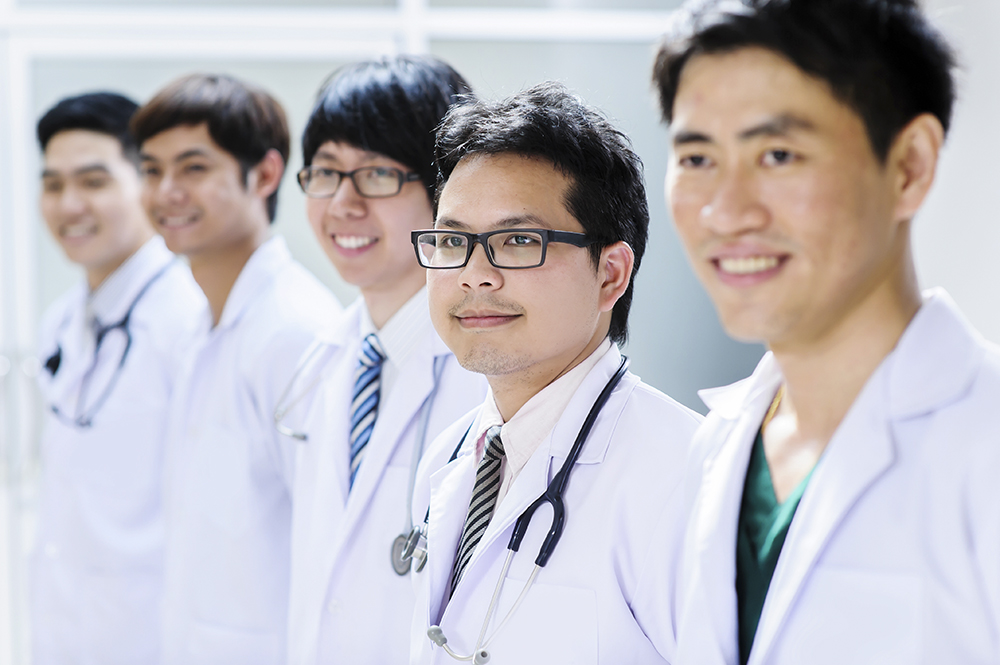 group of young asian doctor portrait