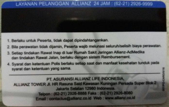 kartu cashless Allianz bagian belakang