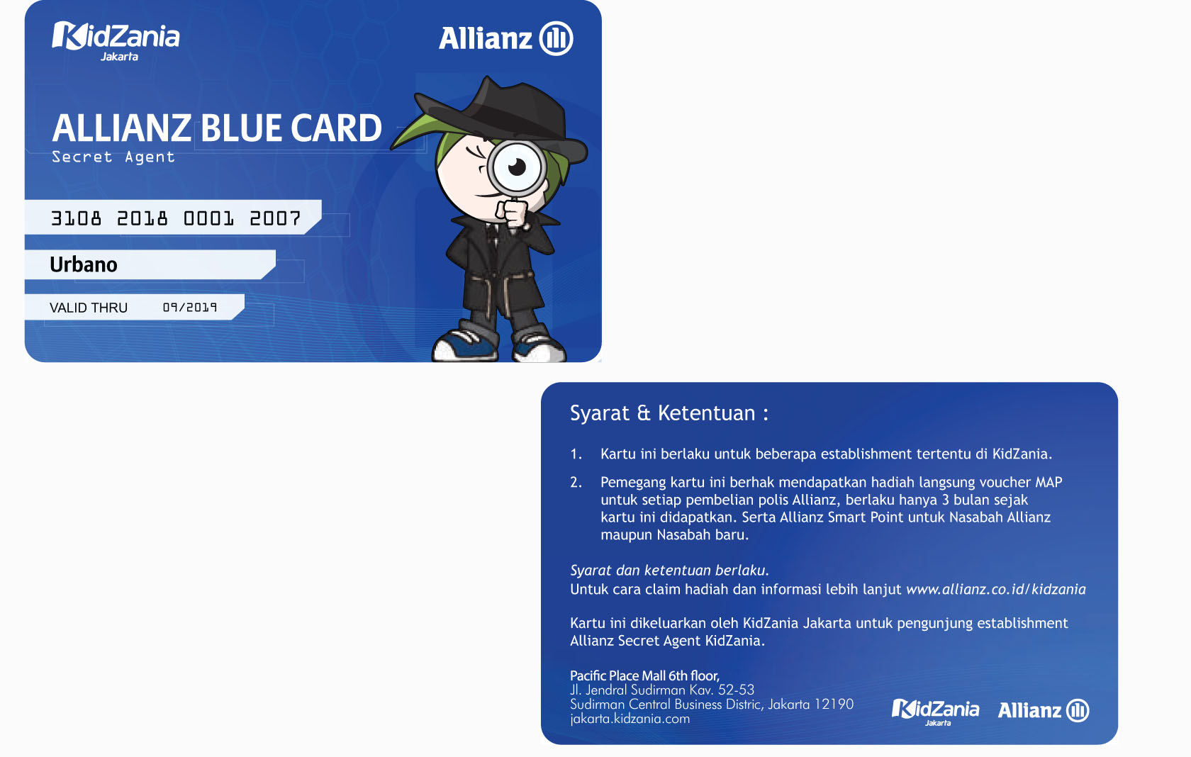 kartu allianz blue card kidzania