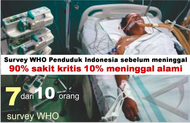 masyarakat indonesia mengalami penyakit kritis dulu baru meninggal